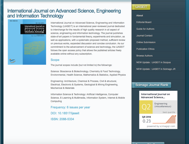International Journal on Advanced Science Engineering Information Technology (IJASEIT) 2