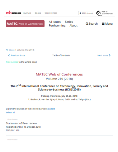 (ICTIS 2018) Matec Web of Conferences