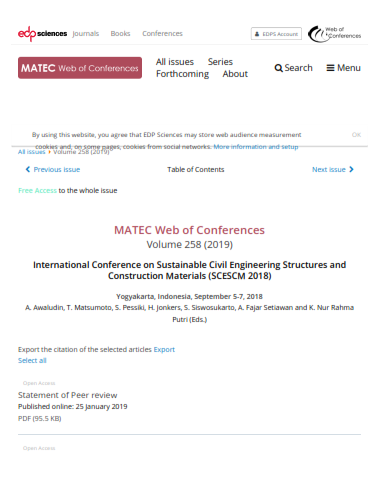 (SCESCM-2018) Matec Web of Conference